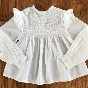 Zara girls white top shirt size 7